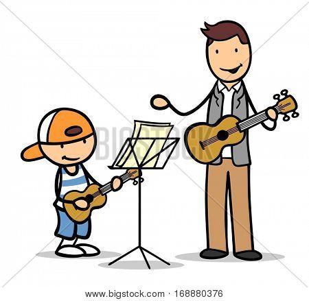 Cartoon boy learning guitar in music school with teacher