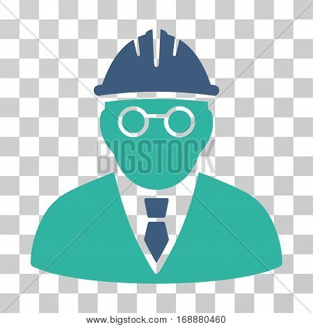Clever Engineer icon. Vector illustration style is flat iconic bicolor symbol cobalt and cyan colors transparent background. Designed for web and software interfaces.