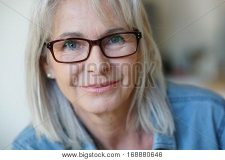 Portrait of senior woman with eyeglasses