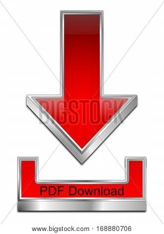 red PDF Download Symbol - 3D illustration