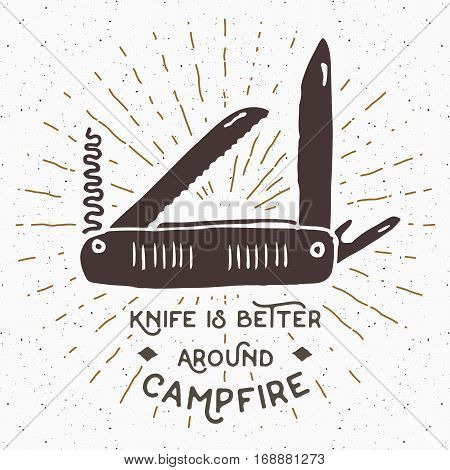 Vintage Label, Hand Drawn Multifunctional Pocket Knife, Grunge Textured Hiking And Camping Equipment