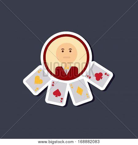 paper sticker on stylish background of poker casino dealer