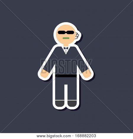paper sticker on stylish background of male guard