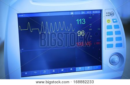 Cardiac monitor in modern clinic, closeup