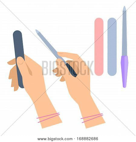 Woman's hand with manicure accessory: nailfile emery. Flat illustration of female hands holding nail file and rasp. Vector isolated on white background fashion cosmetic pedicure polish tools.