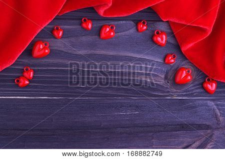 Valentine's Day Elegant Background Red Hearts And Red Fabric On Wooden Background