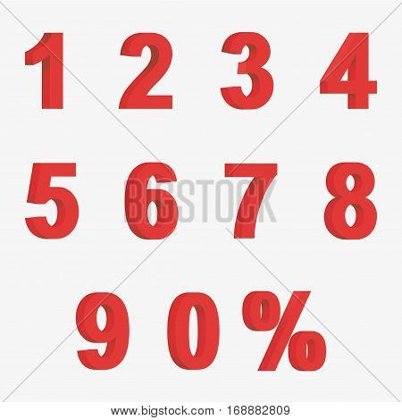 Set 3D Of Figures Of Red Color And Sign Of Percent