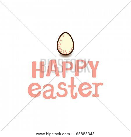 Easter greetings card - cute egg and text Happy Easter