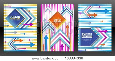 Vector flyer template design with colorful arrows. Leaflet cover presentation abstract flat background. Brochure cover design with arrows. Esp 10