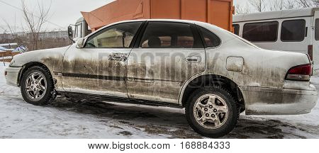 Old dirty car, side view, old white car, sedan, grunge car