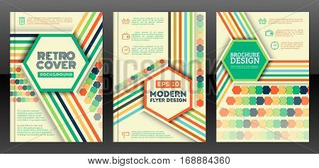 Brochure cover design templates in retro style. Hexagons and line design flyers in vintage style. Abstract retro poster background. Vector eps 10