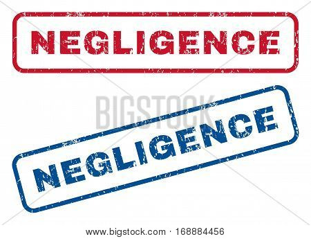 Negligence text rubber seal stamp watermarks. Vector style is blue and red ink caption inside rounded rectangular banner. Grunge design and dirty texture. Blue and red emblems.