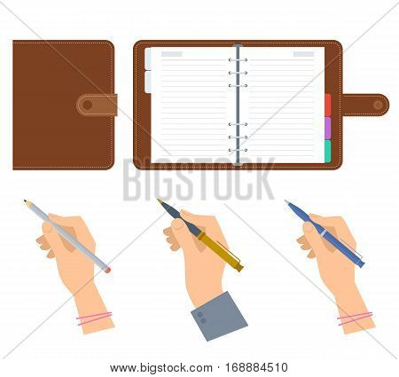 Closed and opened organizers human hands holding pen pencil. Flat concept illustration of business diary planner with leather cover man and woman hand with writing tools. Vector isolated on white.