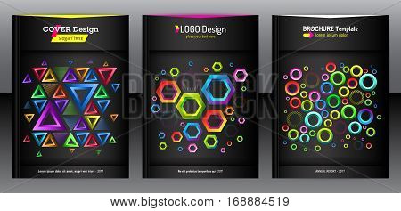 Geometric set of hexagon triangle and round shapes brochure background. Chaotic colorful report design for cover. Modern pattern flyer. Colorful mixed geometric shapes for folder. Vector eps 10