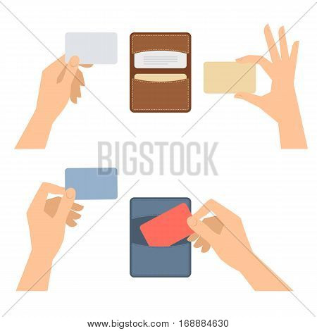 Businessman hands takes out a business card from holder holds credit cards. Isolated on white flat concept illustration of cardholders blanks. Vector infographic elements for web presentations.