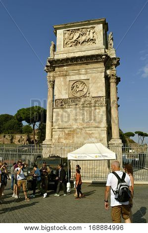 Rome Italy - September 11 2016 : Anti-terrorism soldier on patrol in Rome tourist sites