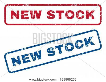 New Stock text rubber seal stamp watermarks. Vector style is blue and red ink tag inside rounded rectangular banner. Grunge design and scratched texture. Blue and red emblems.