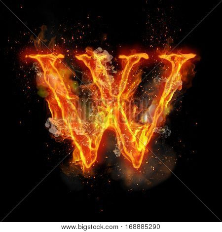 Fire letter W of burning flame. Flaming burn font or bonfire alphabet text with sizzling smoke and fiery or blazing shining heat effect. Incandescent hot red fire glow on black background.