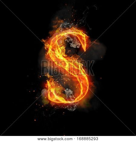 Fire letter S of burning flame. Flaming burn font or bonfire alphabet text with sizzling smoke and fiery or blazing shining heat effect. Incandescent hot red fire glow on black background.