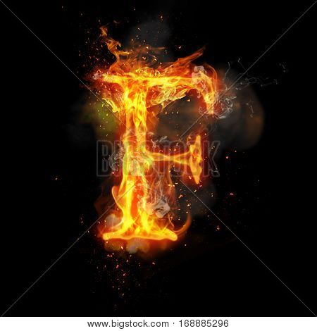 Fire letter F of burning flame. Flaming burn font or bonfire alphabet text with sizzling smoke and fiery or blazing shining heat effect. Incandescent hot red fire glow on black background.
