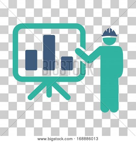Engineer Pointing Chart Board icon. Vector illustration style is flat iconic bicolor symbol cobalt and cyan colors transparent background. Designed for web and software interfaces.