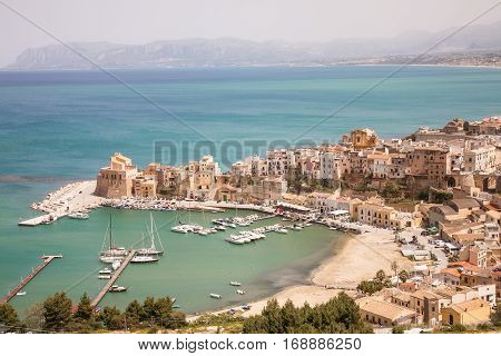 An aerial view on the harbor of the town of Castellammare del Golfo in the Trapani province of Sicily Italy