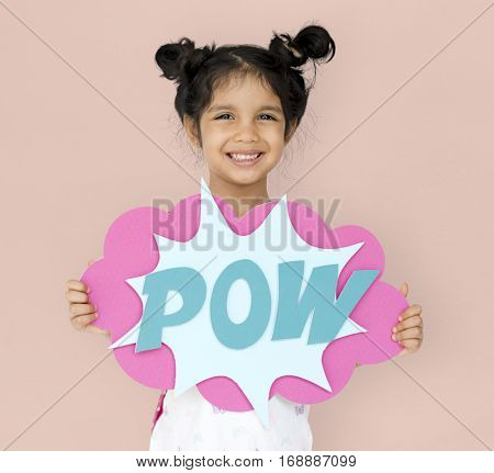 Little GIrl Smiling Happiness Playful Pow Comic Speech Bubble