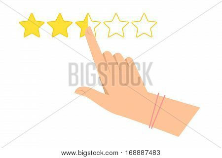 Woman's hand is pointing at one of five stars. Feedback evaluation and rating flat concept illustration. Vector infographic element for web design presentations and social networks.