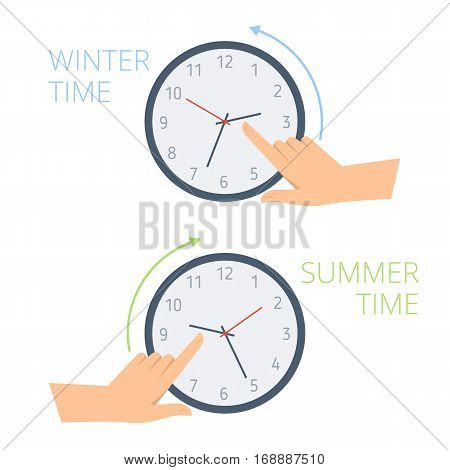 The hand change time on the watch to wintertime and summertime. Concept flat illustration of human turning clock hands backward and forward. Vector design element for presentation web infographic.