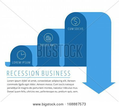 Steps of recession decrease business concept. Blue arrow depict decline business. Flat illustration of downward arrow. Vector template element for infographic web presentation social networks.