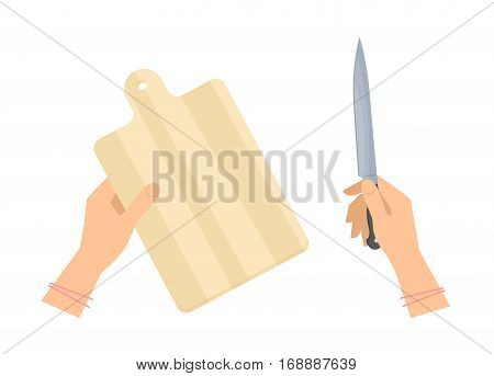Female hands with wooden cutting board and steel kitchen knife. Flat concept illustration of restaurant and household utensils meal preparation tools. Vector elements for web design food infographic.