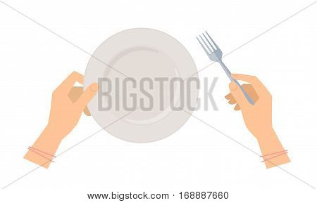 Female hands with steel fork and empty ceramic plate. Flat concept illustration of restaurant and kitchen utensils. Vector elements for web design social networks and food inforaphics.