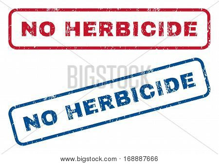 No Herbicide text rubber seal stamp watermarks. Vector style is blue and red ink tag inside rounded rectangular shape. Grunge design and unclean texture. Blue and red signs.