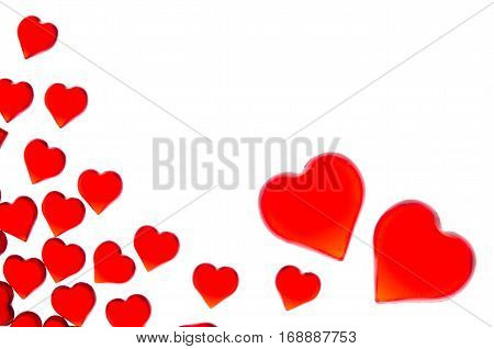 Bright red hearts in two large hearts in the right corner. In order to use Valentine's Day, weddings, International Women's Day
