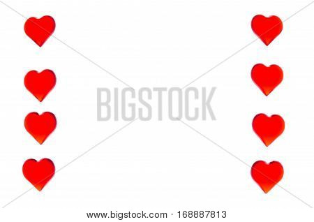 Bright red hearts in the form of two columns on each side. In order to use Valentine's Day, weddings, International Women's Day