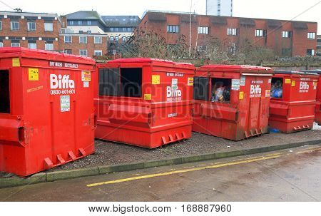 Bracknell, England - February 05, 2017: Biffa recyclable waste collection bins in the town of Bracknell,England. Biffa is the UK's leading waste management business for collection, treatment and recycling