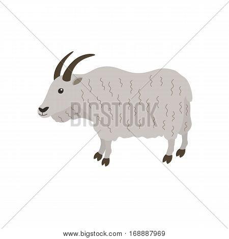 mountain goat vector illustration for children isolated on white background