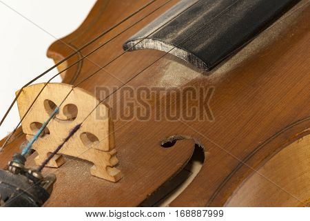 Old wooden violin an enlarged detail shown