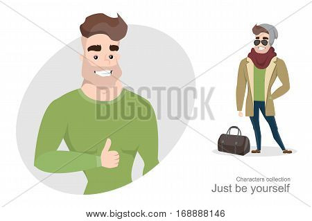 Stylish young man in street clothes with a bag. Mens accessories. Trendy guy wearing a hat and sunglass. Handsome man with a body pumped.