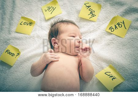 Yellow Post It Stickers Set Around Cute Baby Sucking Thumb