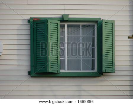 Window Green Shutters