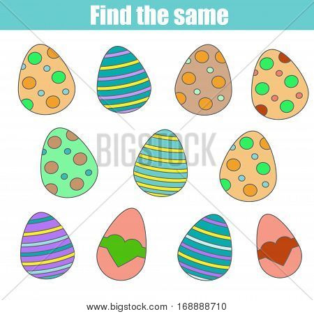 Find the same pictures children game kids activity worksheet. Easter theme