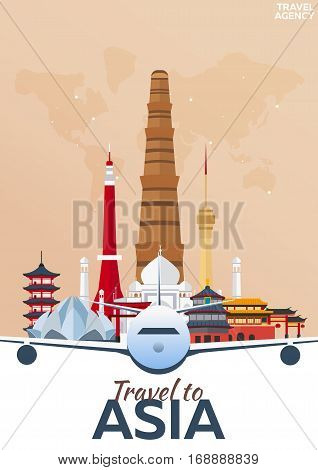 Travel Poster. Travel To Asia. Vacation. Trip To Country. Travelling Illustration. Modern Vector Fla