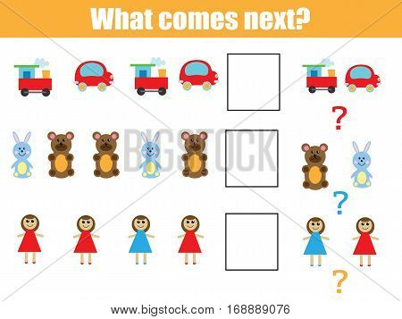 What comes next educational children game. Kids activity sheet training logic continue the row task