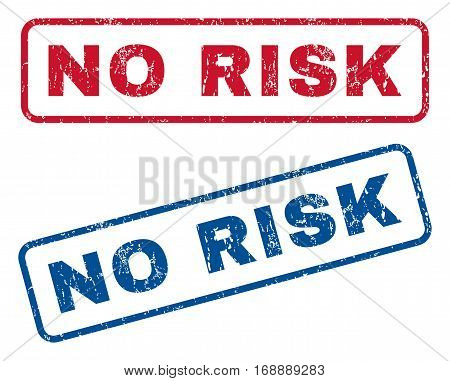 No Risk text rubber seal stamp watermarks. Vector style is blue and red ink caption inside rounded rectangular banner. Grunge design and scratched texture. Blue and red signs.