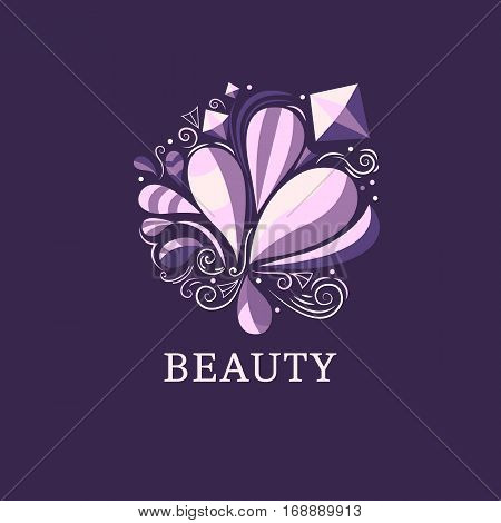 Beauty and fashion logo template. Vector abstract illustration. Floral concept. Decorative natural elements. Symbol for background, print, banner, logotype, label, tag, fabric packaging Flat design
