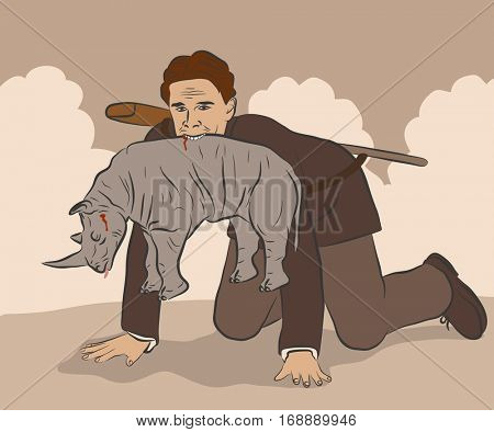 Vector illustration of a hunter in a suit holding a dead rhinoceros in his mouth like a cat