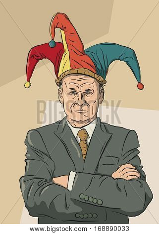 Vector illustration of a serious businessman wearing a jester hat but not sharing the joke