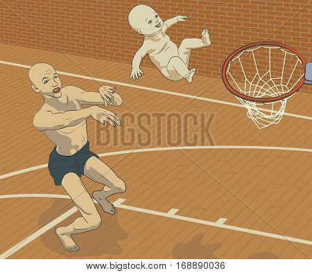 Concept vector illustration of a man throwing his smiling baby at a basketball hoop as if trying to achieve his goals through his child or pushing his child towards goals