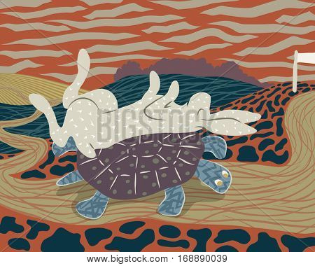 Vector illustration of a hare sleeping on the back of a tortoise to avoid losing the race